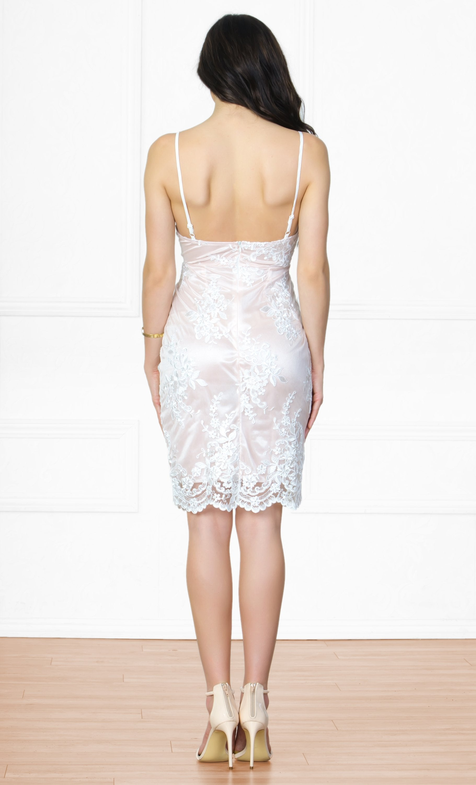 Indie XO Enticing Evening White Lace Spaghetti Strap V Neck Bodycon Midi Dress - Sold Out