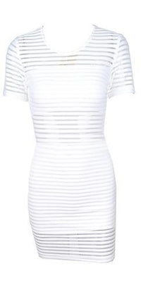 We Can't Stop White Sheer Mesh Stripe Short Sleeve Scoop Neck Bodycon Mini Dress - Sold Out