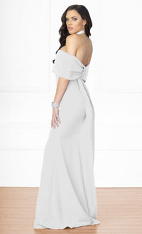 Indie XO Dress You Up White Short Sleeve Off The Shoulder Bow Back Slit Maxi Dress Evening Gown - Sold Out