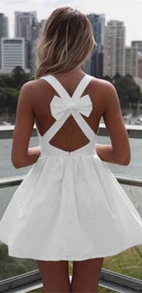 White Vintage Sleeveless Cut Out Bow Back Mini Dress Flare Pleat Mini Skirt Dress - Sold Out