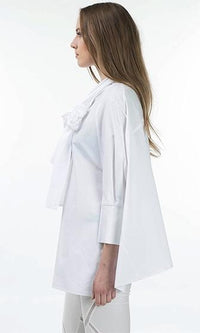 Gallery Opening White 3/4 Sleeve Batwing Bow Oversized Loose Boxy Blouse - Sold out