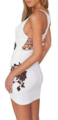 Drive You Wild White Brown Floral Spaghetti Strap Plunge V Neck Cross Wrap Cut Out Tulip Bodycon Mini Dress - Sold Out