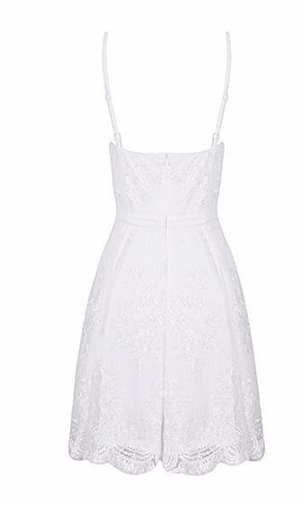 Dream Girl White Lace Spaghetti Strap Bustier V Neck Skater Circle A Line Flare Mini Dress - Sold Out