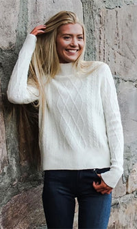 Cozy Time White Long Sleeve Mock Neck Cable Knit Pullover Sweater - Sold Out