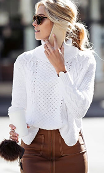 Crisp And Clean White Long Sleeve Cable Split Turtleneck Loose Pullover Sweater  -  Sold Out