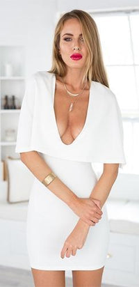 Ready Or Not White Short Sleeve Cape Plunge V Neck Bodycon Mini Dress - Sold Out