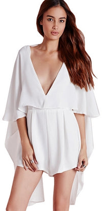 It Was All A Dream White Elbow Sleeve Plunge V Neck Cape Romper - Sold Out