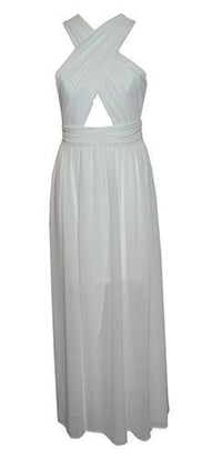 Cream Of The Crop White Sleeveless Cross Wrap Cut Out Chiffon Slit Maxi Dress - Sold Out