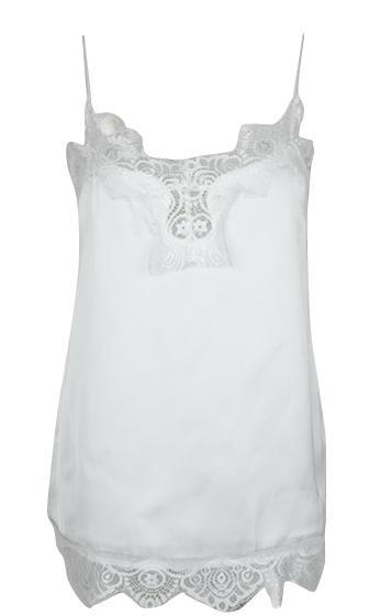 064a756920848 Total Package White Chiffon Spaghetti Strap Lace Trim Cami Tank Top - Sold  Out