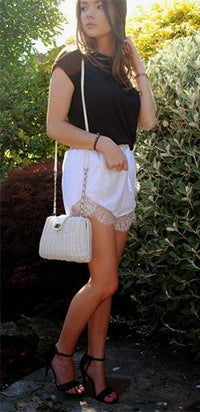 White Chiffon Lace Trim High Waist Tie Front Shorts - Sold Out