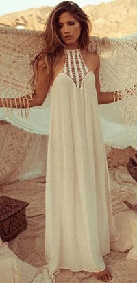 White Crochet Chiffon Sleeveless Scoop Neck Halter Open Back Flowing Maxi Dress - Sold out