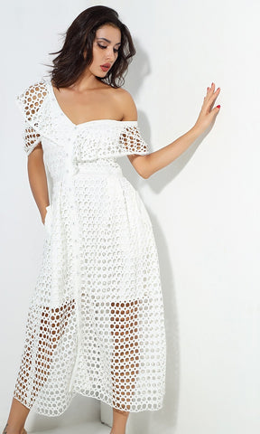 Tied To You White Sleeveless Mock Neck Halter Cut Out Lace Up Bodycon Midi Dress
