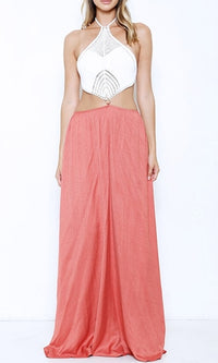 On The Rise White Coral Sleeveless Crochet Halter Tie Back Cut Out Side Maxi Dress - Sold Out