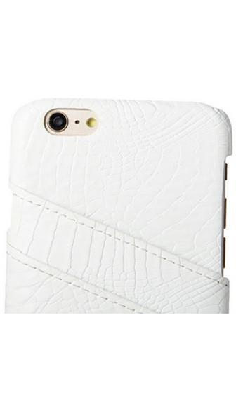 Keep You Close White Croco Embossed Credit Card Phone Case - Sold Out