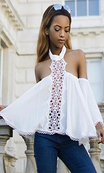 Open Season 3/4 Sleeve Cut Out Off The Shoulder Mock Neck Lace Crochet Blouse - 2 Colors Available - Sold Out