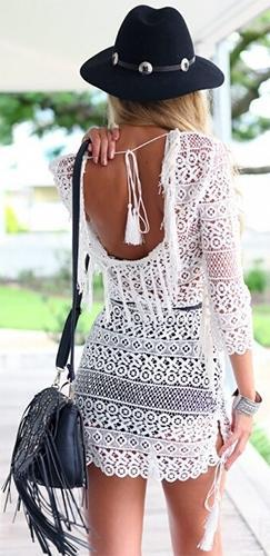 Let the Sunshine In White Crochet Lace 3/4 Sleeve Scoop Neck Open Back Fringe Trim Mini Dress - Sold Out