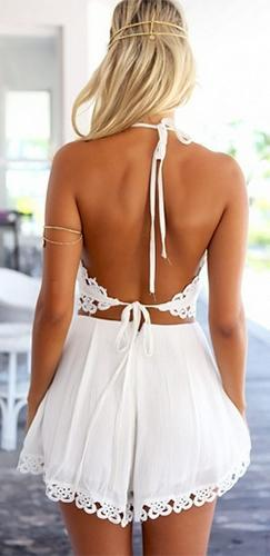 Psychic Flowers White Crochet Lace Trim Sleeveless Spaghetti Strap V Neck Open Tie Back Crop Halter Tank Top -  Sold Out