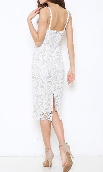 Class Act White Beige Crochet Lace Spaghetti Strap Sleeveless Sweetheart Neck Scallop Midi Dress - 3 Colors Available