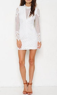 Rock With You White Sheer Mesh Crochet Trim Long Sleeve Mock Neck Bodycon Mini Dress - Sold Out
