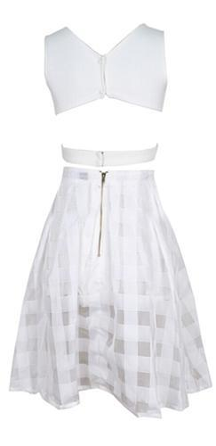 Down The Garden Path White Sleeveless Scoop Neck Cut Out Crop Top Sheer Checked Midi Two Piece A Line Dress - Sold Out