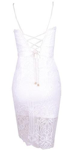 Closing Time White Lace Spaghetti Strap Lace Up Back Crop Top Bodycon Two Piece Mini Dress - Sold Out - Sold Out
