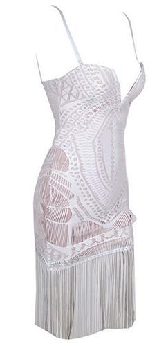 Great Expectations White Cut Out Geometric Fringe Spaghetti Strap V Neck Midi Dress - Sold Out