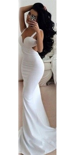 Dream Lover White Sleeveless V Neck Cut Out Back Mermaid Maxi Dress Evening Gown - Sold Out