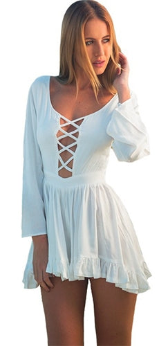 Fairy Dreams White Long Sleeve V Neck Crisscross Lace Up Cut Out Ruffle Short Romper - Sold Out