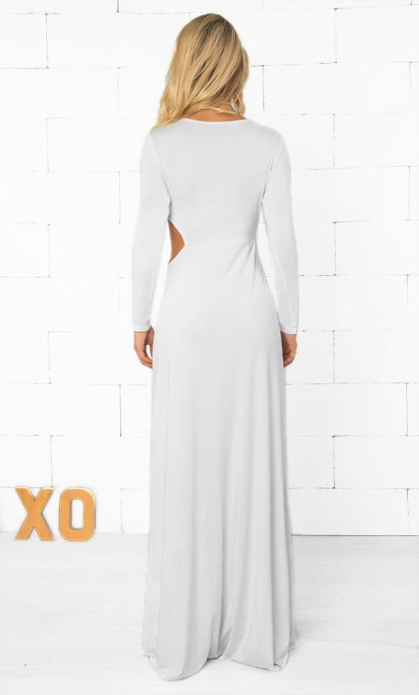 Indie XO Here and Now White Long Sleeve Cross Wrap V Neck Ruched Split Front Maxi Dress with Left Side Cut Out Detail -  Sold Out