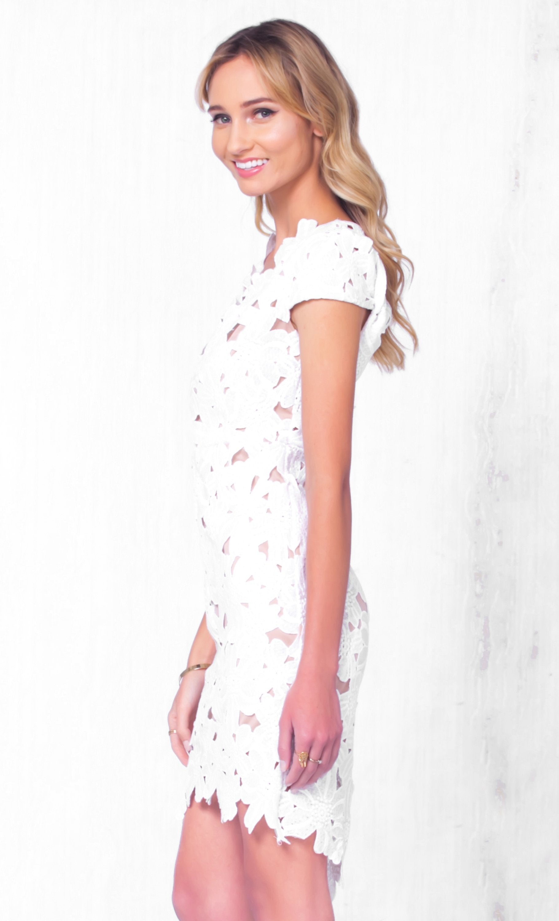 Indie XO Take The Cake White Lace Cap Sleeve V Neck Cut Out Back Bodycon Mini Dress - Just Ours! - Sold Out