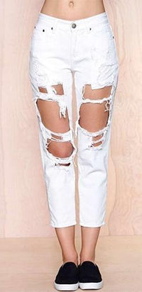 White Denim Distressed Destructed Destroyed Frayed Ripped Jeans - Sold Out