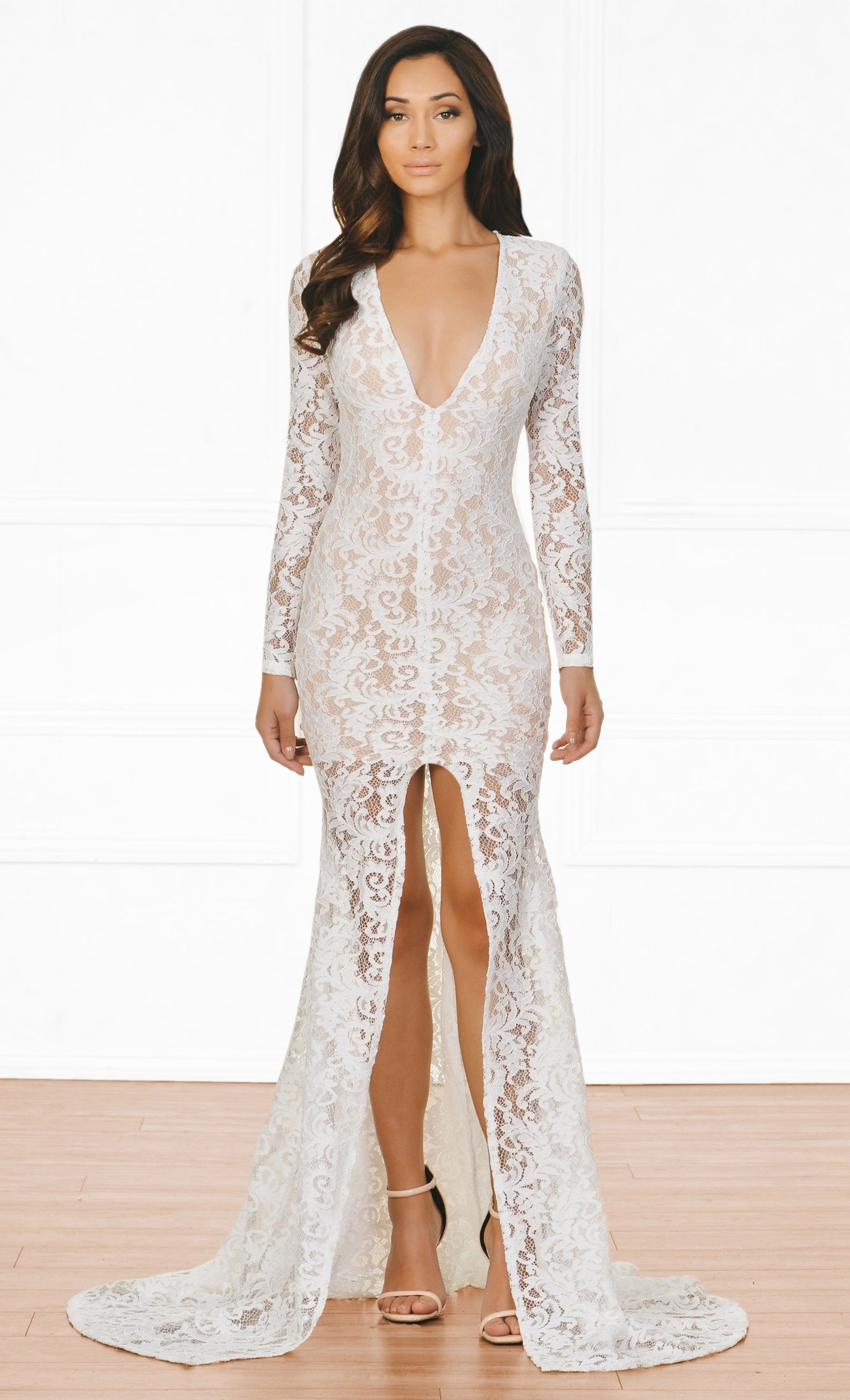 Indie XO Modern Romance White Nude Guipure Lace Long Sleeve Plunge V N