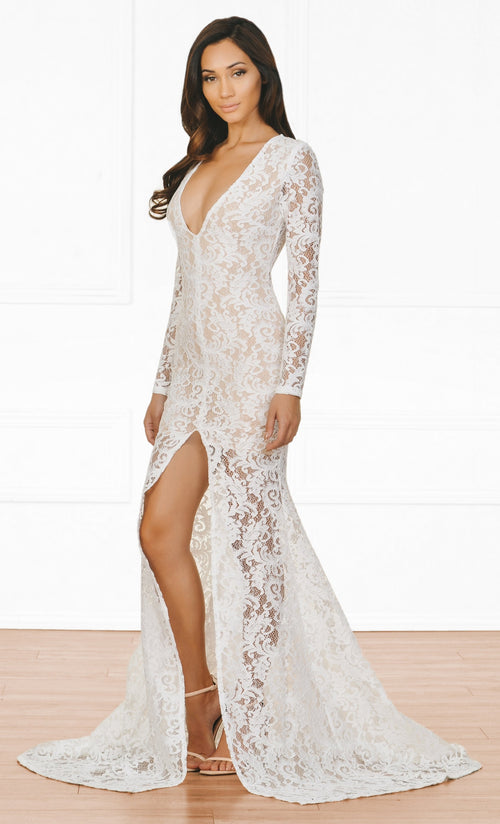 Indie XO Modern Romance White Nude Guipure Lace Long Sleeve Plunge V Neck High Front Slit Maxi Dress