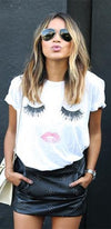 Pixie Lashes White Short Sleeve Crew Neck Eyelash Face Tee Shirt - As Seen on Sincerely Jules - Sold Out