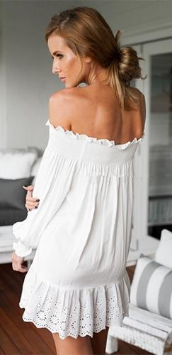 Moonlight Drive White Long Sleeve Off The Shoulder Eyelet Ruffle Trim A Line Mini Dress - Sold Out