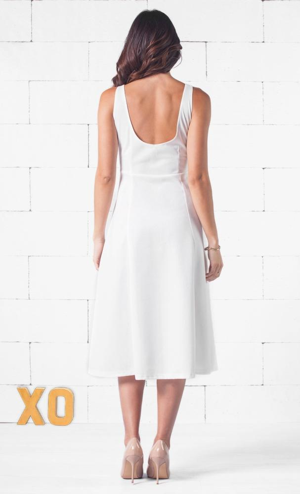 Indie XO Spring Street White Sleeveless Scoop Neck Circle A Line Flare Midi Dress - Just Ours!