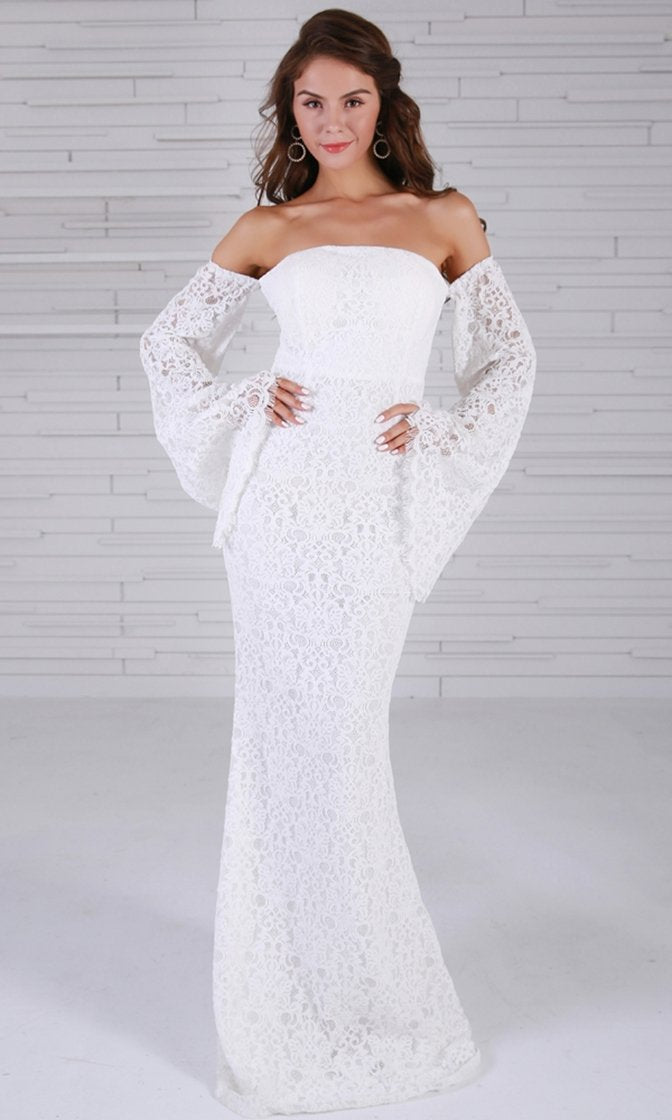 967112b59c7 New Rules White Lace Off The Shoulder Long Flare Sleeve Sheath Maxi ...