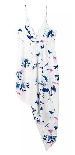 I'll Always Love You White Blue Pink Floral Spaghetti Strap V Neck Wrap Asymmetric Mini Maxi Dress - Sold Out