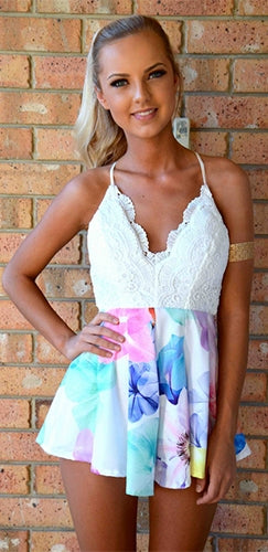 White Pink Purple Blue Yellow Red Floral Lace Sleeveless Spaghetti Strap Halter V Neck X Back Short Romper