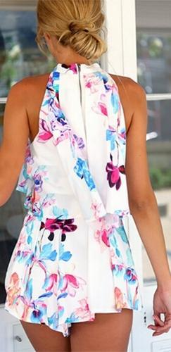 Color Splash White Blue Pink Purple Floral Sleeveless Loose Crop Halter Tank Top Pleated Shorts Two Piece Romper - Back in Stock! - Sold Out