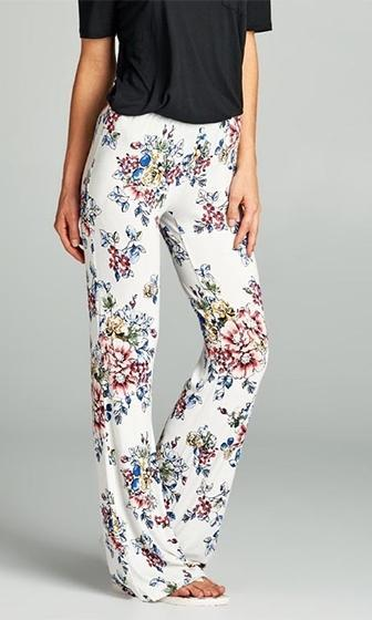 Bring Me Flowers White Red Blue Green Yellow Floral Flare Leg Legging Stretch Pants - Sold Out