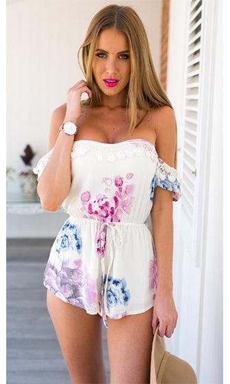 Charm School White Blue Purple Pink Floral Short Sleeve Off The Shoulder Fringe Lace Tie Waist Romper Playsuit - Sold Out