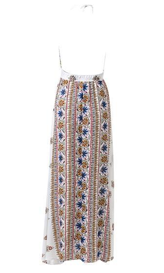 Cali Days White Blue Yellow Floral Spaghetti Strap Backless Halter Plunge V Neck Maxi Dress - Sold Out