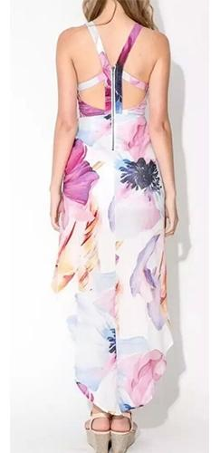 It Must Be Love White Pink Purple Blue Yellow Black Floral Sleeveless Scoop Neck Halter Cross Wrap Maxi Dress - Sold Out