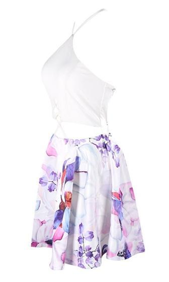 Over The Rainbow White Pink Purple Blue Floral Spaghetti Strap Halter Cut Out Lace Up Skater Circle A Line Flare Mini Dress - Almost Gone! - Sold Out