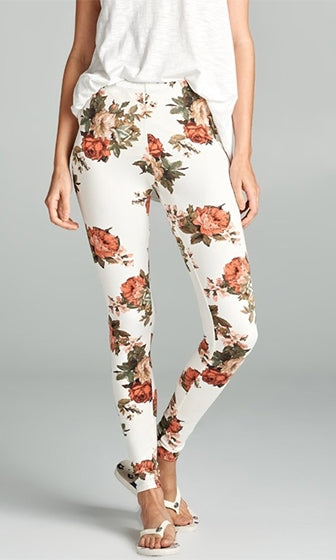 Floral Tribute White Orange Green Flower Print Stretch Pants Leggings