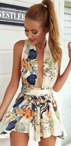 High Garden White Blue Beige Orange Grey Green Floral Sleeveless Halter Plunge V Neck T-Strap Back Short Romper - Sold Out