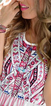 High Hopes White Fuchsia Pink Purple Black Floral Geometric Sleeveless Scoop Neck Boho Maxi Dress - Sold Out