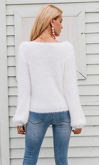 Flash Forward White Long Sleeve Scoop Neck Fuzzy Pullover Sweater - Sold Out