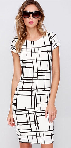 Prepare For Takeoff White Black Geometric Short Sleeve Scoop Neck Bodycon Mini Dress - Sold Out